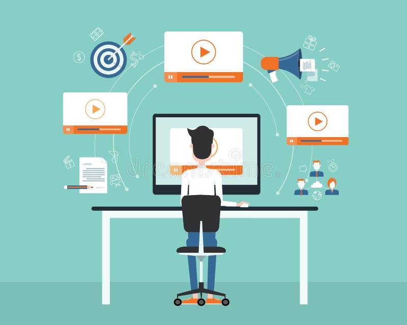 Índice video do mercado do negócio na linha conceito ilustração royalty free