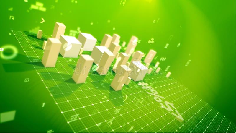 Índices de negócio bem sucedidos no contexto verde ilustração stock