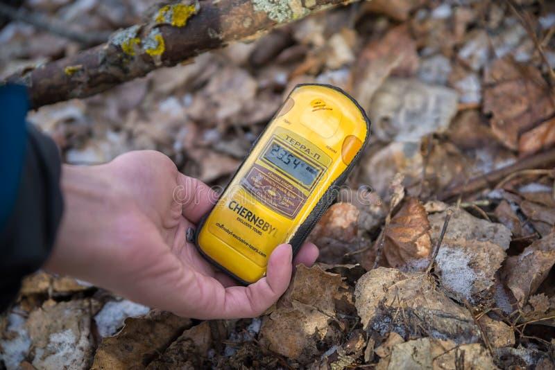 Índices de radiación en la zona de exclusión de Chernobyl (Ucrania) fotos de archivo libres de regalías