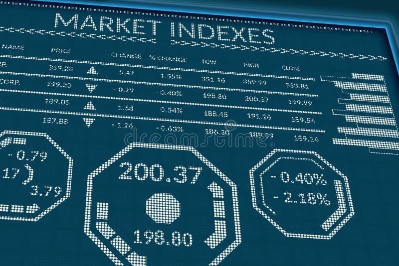 Índices del mercado de acción o datos comerciales de las divisas sobre la pantalla de los pixeles Opinión de perspectiva del moni foto de archivo