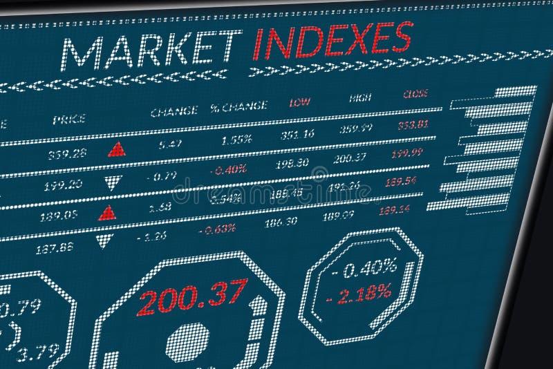 Índices do mercado de valores de ação ou dados de comércio dos estrangeiros na tela dos pixéis Opinião de perspectiva do monitor  fotografia de stock
