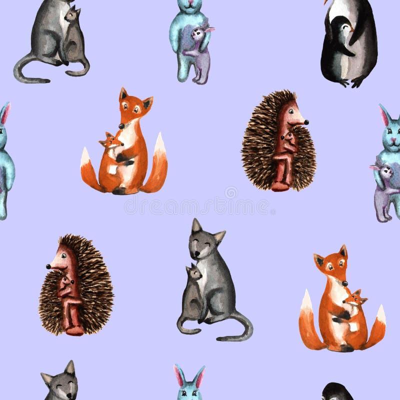 Άγρια ζώα, mom μωρό αγκαλιασμάτων, σχέδιο η διακοσμητική εικόνα απεικόνισης πετάγματος ραμφών το κομμάτι εγγράφου της καταπίνει τ διανυσματική απεικόνιση