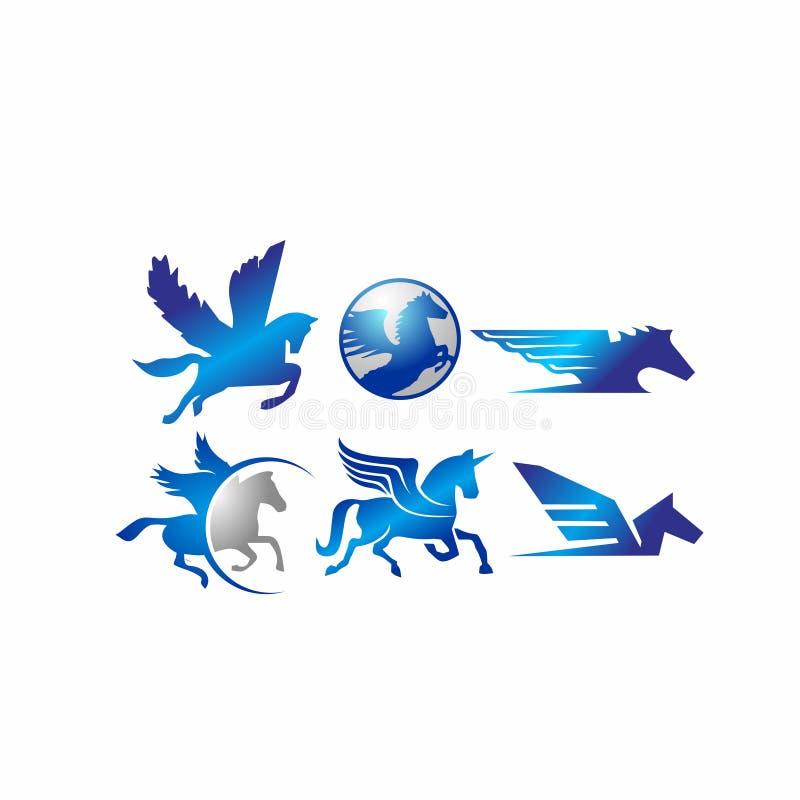 Άλογο, pegasus, μονόκερος, ιππικός, ίππειος, μάστανγκ, ζώο στο διανυσματικό απεικόνισης καθορισμένο λογότυπο εικονιδίων αποθεμάτω ελεύθερη απεικόνιση δικαιώματος