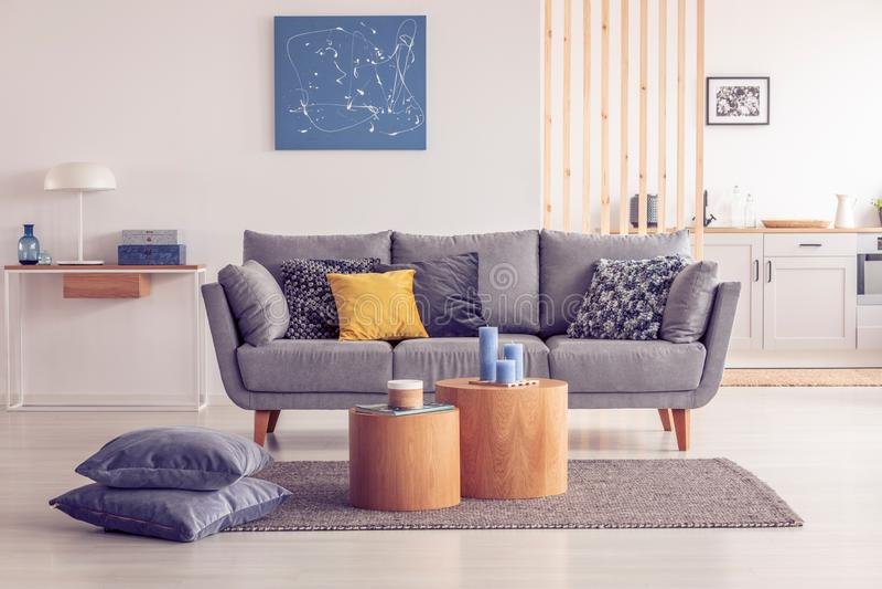 Άνετος γκρίζος καναπές στο κομψό εσωτερικό καθιστικών στοκ φωτογραφία