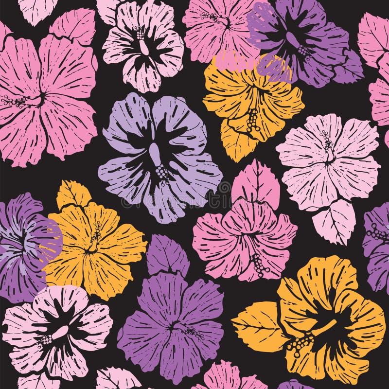 Άνευ ραφής ζωηρόχρωμα hibiscus σχεδίων λουλούδια στο μαύρο υπόβαθρο διανυσματική απεικόνιση