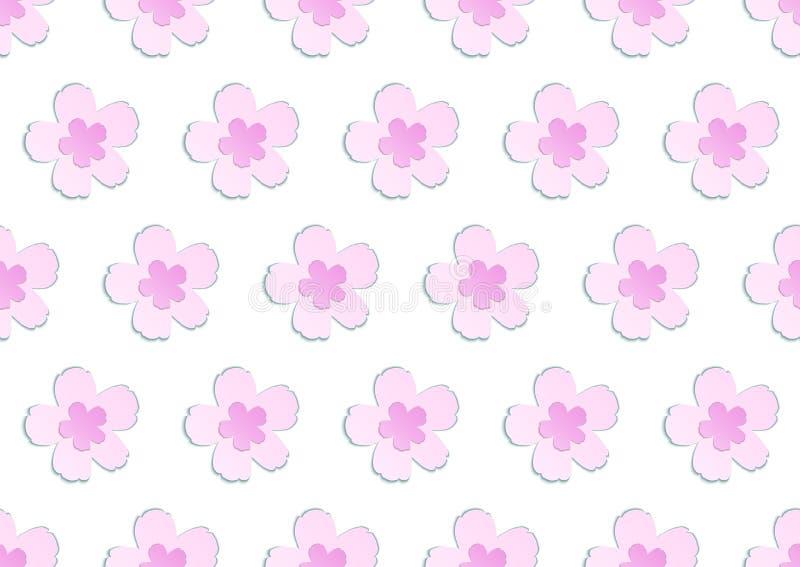 Άνευ ραφής καλό papercut σχέδιο sakura άνοιξη ανθίζοντας ρόδινο ιαπωνικό διανυσματική απεικόνιση