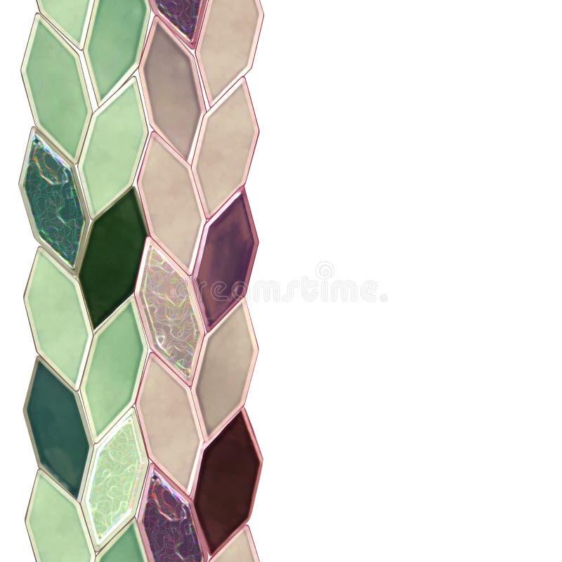Άνευ ραφής λουρίδα, μια σειρά των ρόδινων, πορφυρών, πράσινων κεραμιδιών Το σχέδιο της κεραμικής είναι απομονωμένο σε ένα λευκό ελεύθερη απεικόνιση δικαιώματος