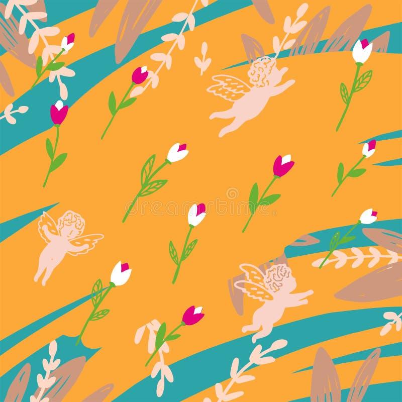 Άνευ ραφής μπλε και κίτρινο σχέδιο με τους αγγέλους και τις τουλίπες ελεύθερη απεικόνιση δικαιώματος