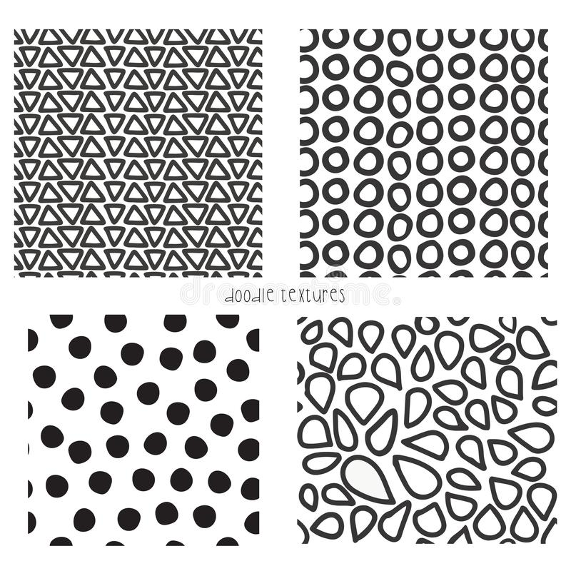 Άνευ ραφής διανυσματικό σύνολο συστάσεων doodle 4 Επανάληψη των υποβάθρων των γραπτών τριγώνων, σημεία, μορφή μωσαϊκών διανυσματική απεικόνιση