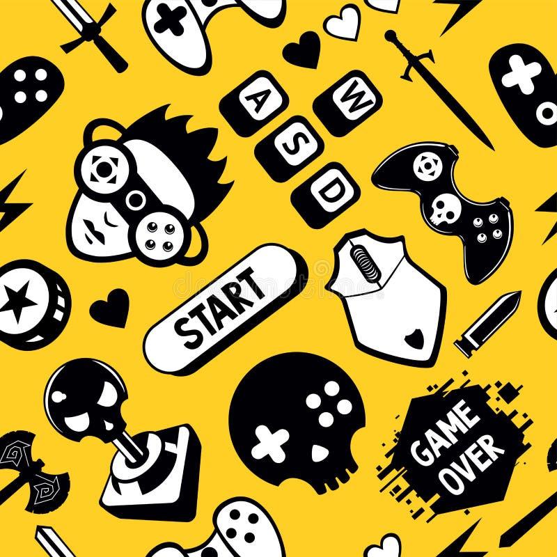 Άνευ ραφής διανυσματικό σχέδιο με τα στοιχεία παιχνιδιών Αστεία τηλεοπτική σύσταση παιχνιδιών με τον ελεγκτή πηδαλίων και το ποντ διανυσματική απεικόνιση