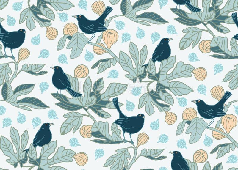 Άνευ ραφής διανυσματικό υπόβαθρο σχεδίων με τα χαριτωμένα πουλιά στους κλάδους ενός δέντρου σύκων Σχέδιο σχεδίων επιφάνειας ελεύθερη απεικόνιση δικαιώματος