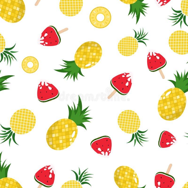 Άνευ ραφής σύσταση υποβάθρου σχεδίων ανανά και καρπουζιών, φρούτα juicy στις θερινές περίοδο διακοπές, ύφος της Χαβάης, διάνυσμα απεικόνιση αποθεμάτων