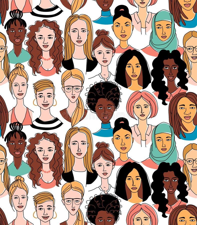 Άνευ ραφής σχέδιο αφισών σχεδίων γραμμών υποβάθρου γυναικών επικεφαλής grunge doodle διανυσματική απεικόνιση