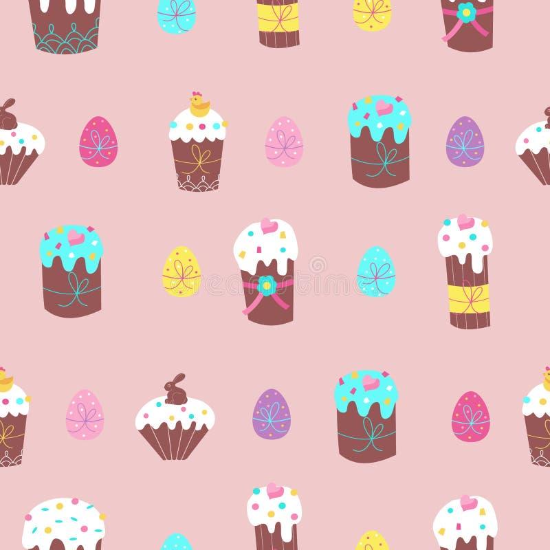 Άνευ ραφής σχέδιο για Πάσχα Χαριτωμένα κέικ Πάσχας και χρωματισμένα αυγά επίσης corel σύρετε το διάνυσμα απεικόνισης απεικόνιση αποθεμάτων