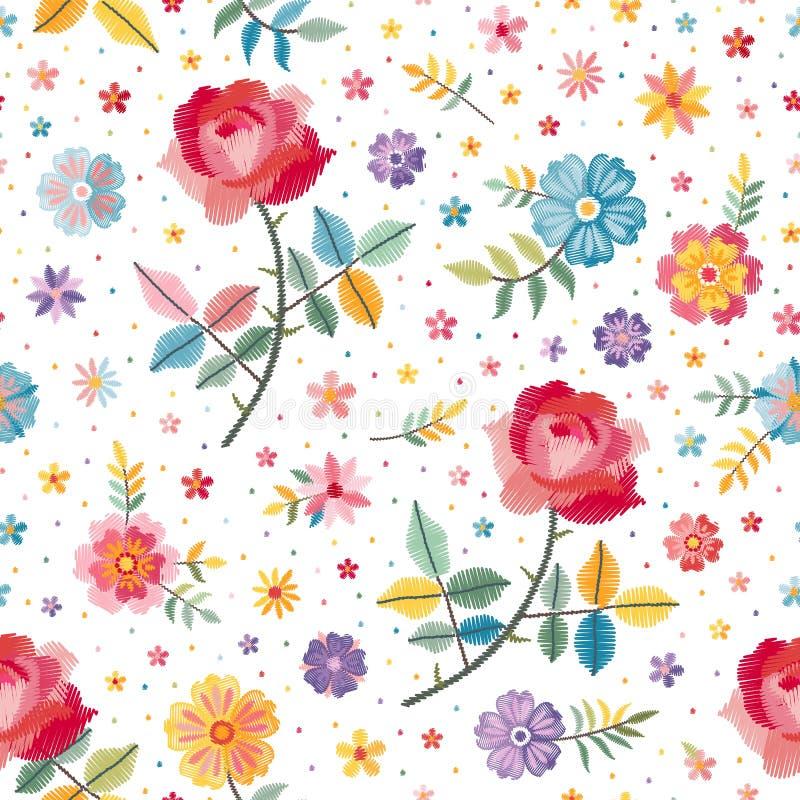 Άνευ ραφής σχέδιο κεντητικής με τα όμορφα φωτεινά λουλούδια στο άσπρο υπόβαθρο Σχέδιο μόδας Κεντημένη διάνυσμα απεικόνιση απεικόνιση αποθεμάτων