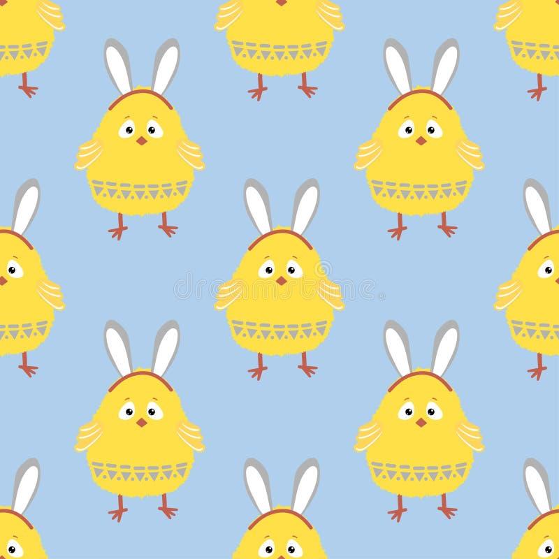 Άνευ ραφής σχέδιο κοτόπουλου Πάσχας Διανυσματικό υπόβαθρο με το χαριτωμένο νεοσσό απεικόνιση αποθεμάτων