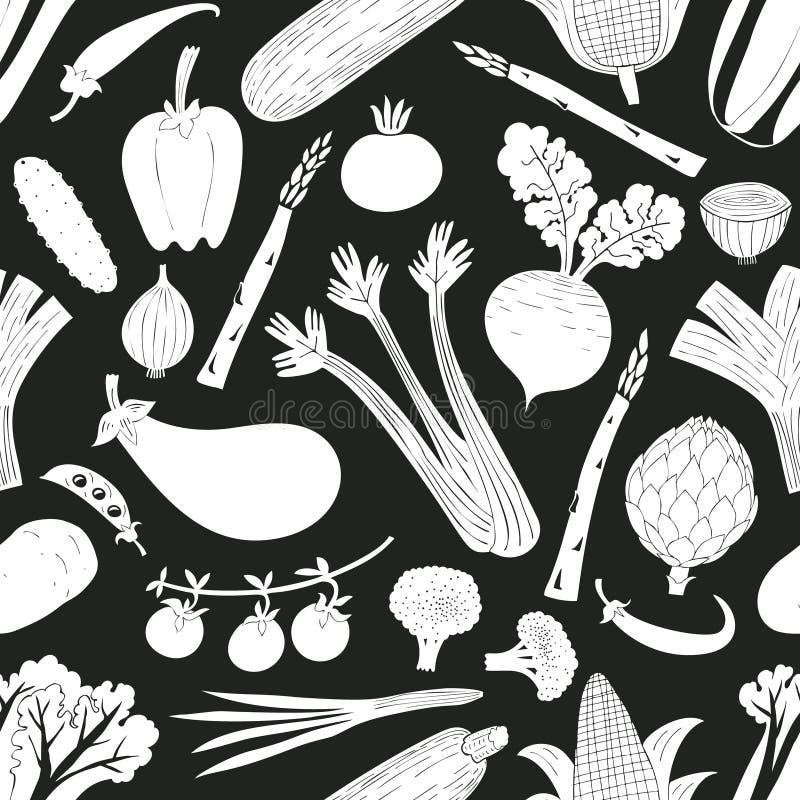 Άνευ ραφής σχέδιο λαχανικών διασκέδασης συρμένο χέρι Γραπτός γραφικός Ανασκόπηση λαχανικών Ύφος Linocut τρόφιμα υγιή διάνυσμα απεικόνιση αποθεμάτων