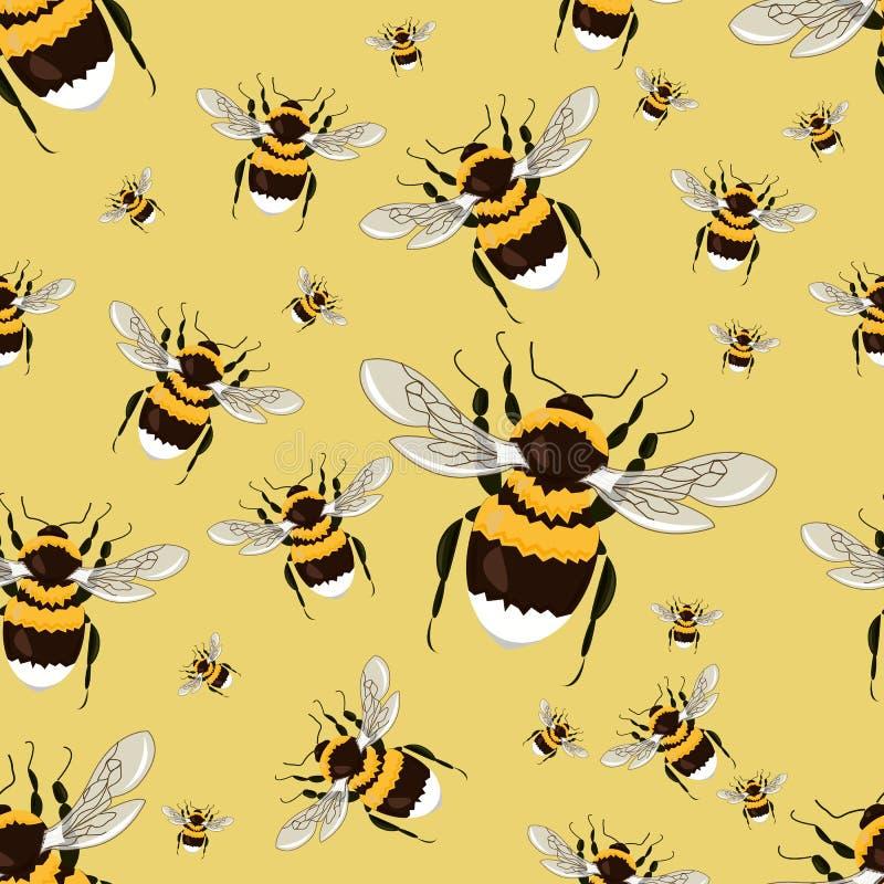 Άνευ ραφής σχέδιο με μεγάλα φωτεινά bumblebees Ρεαλιστικά έντομα διανυσματική απεικόνιση