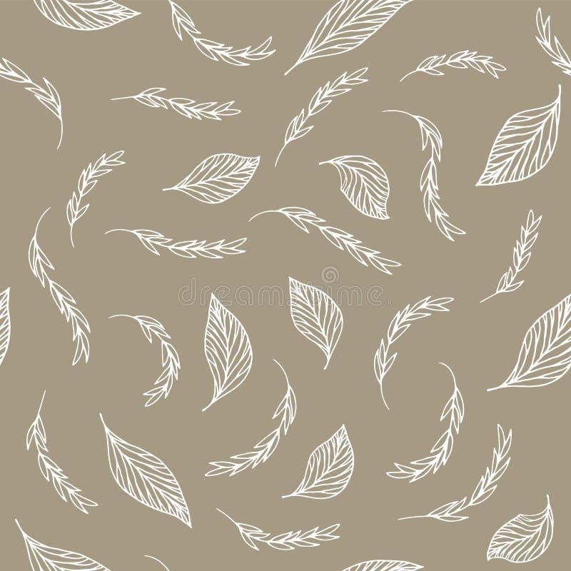 Άνευ ραφής σχέδιο με τα άσπρα φύλλα twill στο μπεζ υπόβαθρο απεικόνιση αποθεμάτων