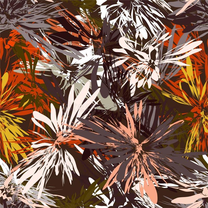 Άνευ ραφής σχέδιο με τα ακτινωτά στοιχεία λωρίδων grunge στα κόκκινα, άσπρα, πορτοκαλιά, κίτρινα, γκρίζα χρώματα στο καφετί υπόβα ελεύθερη απεικόνιση δικαιώματος