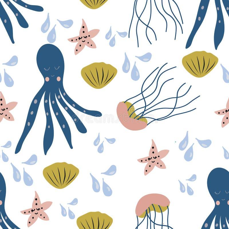 Άνευ ραφής σχέδιο με τα ζωηρόχρωμα πλάσματα θάλασσας στοκ φωτογραφία