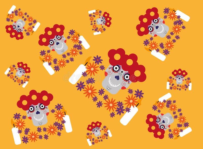 Άνευ ραφής σχέδιο με τα κρανία και τα λουλούδια ζάχαρης στο πορτοκαλί υπόβαθρο διανυσματική απεικόνιση