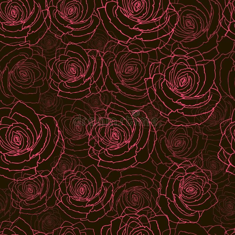 Άνευ ραφής σχέδιο με τα κόκκινα τριαντάφυλλα σε ένα μαύρο υπόβαθρο διανυσματική απεικόνιση