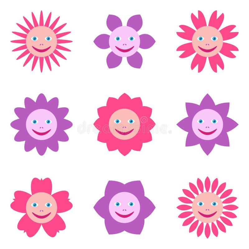 Άνευ ραφής σχέδιο με τα διαφορετικά λουλούδια με τα ανθρώπινα πρόσωπα χαμόγελου Πολύχρωμη απεικόνιση στο ύφος κινούμενων σχεδίων  απεικόνιση αποθεμάτων