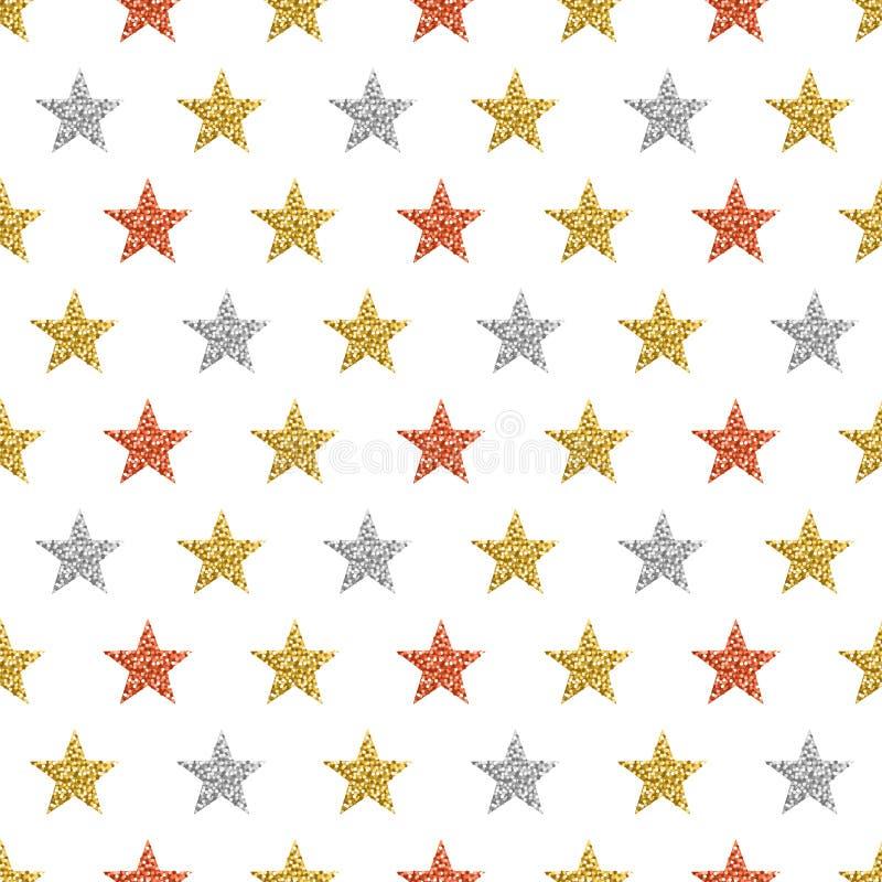 Άνευ ραφής σχέδιο με τα χρυσά και ασημένια ακτινοβολώντας αστέρια χρυσό πρότυπο άνευ ραφής Επαναλαμβανόμενο σχέδιο Μπορέστε να χρ διανυσματική απεικόνιση