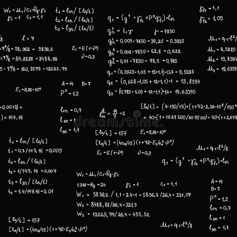 Άνευ ραφής σχέδιο με την εξίσωση εφαρμοσμένης μηχανικής και μαθηματικών και υπολογισμοί στον πίνακα Ατελείωτο διάνυσμα γραψίματος ελεύθερη απεικόνιση δικαιώματος