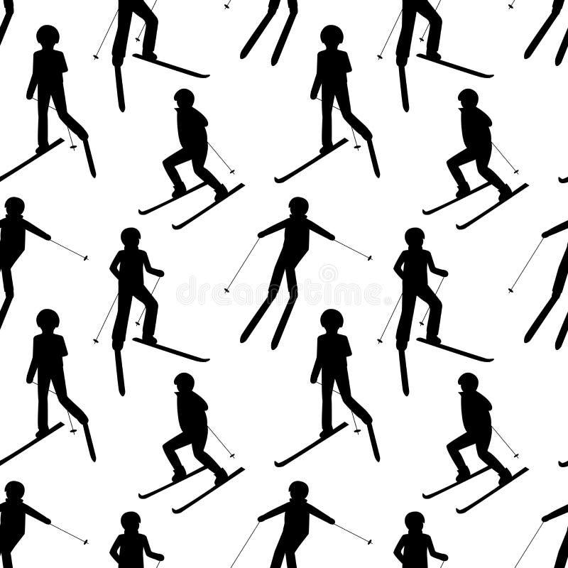 Άνευ ραφής σχέδιο με τις μαύρες σκιαγραφίες των κάνοντας σκι ανθρώπων: άτομο  γυναίκα  παιδί Παιχνίδια χειμερινού αθλητισμού διανυσματική απεικόνιση