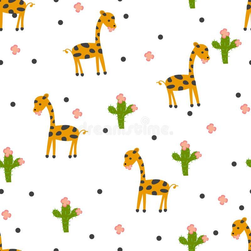 Άνευ ραφής σχέδιο με τον κάκτο giraffeand απεικόνιση αποθεμάτων