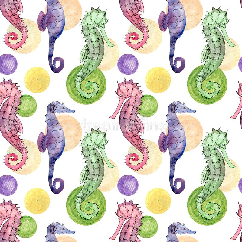 Άνευ ραφής σχέδιο με το seahorse διανυσματική απεικόνιση