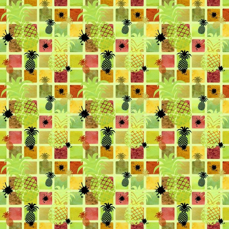 Άνευ ραφής σχέδιο σε ένα χρωματισμένο υπόβαθρο με τους ανανάδες διανυσματική απεικόνιση