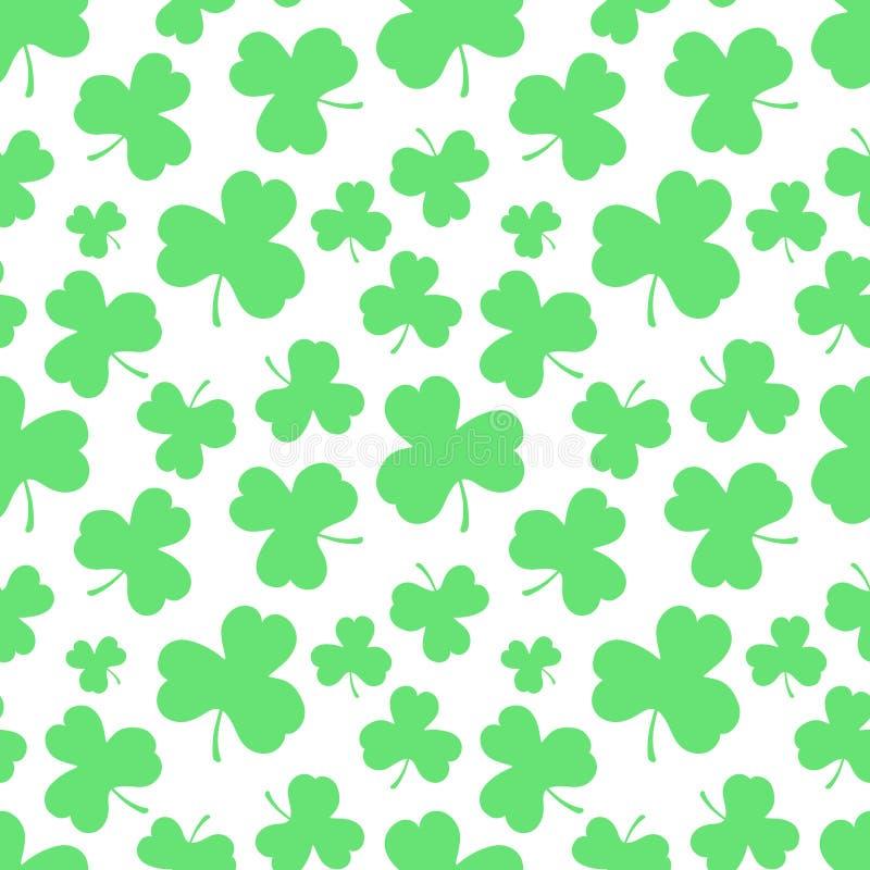 Άνευ ραφής σχέδιο των πράσινων τριφυλλιών φύλλων στο ST Πάτρικ Day Hand-drawn διανυσματική απεικόνιση του τριφυλλιού για τις ιρλα διανυσματική απεικόνιση