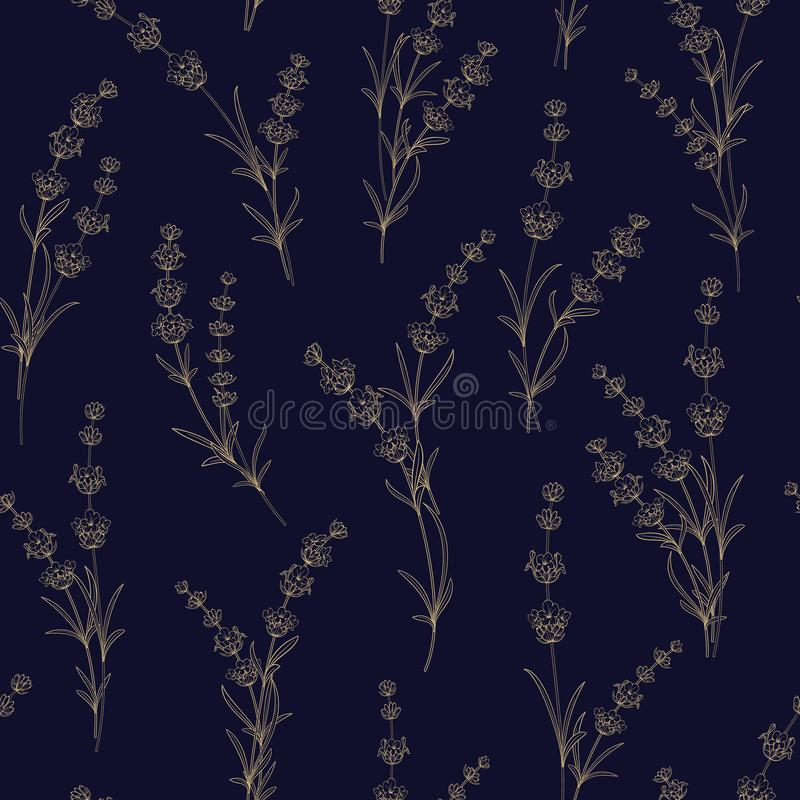 Άνευ ραφής σχέδιο lavender των λουλουδιών διανυσματική απεικόνιση