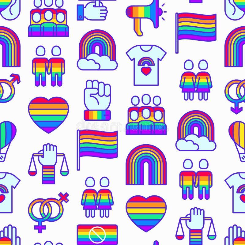 Άνευ ραφής σχέδιο LGBT με τα λεπτά εικονίδια γραμμών διανυσματική απεικόνιση