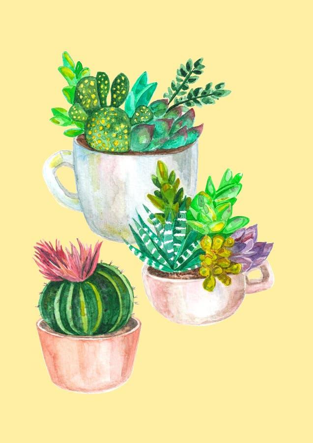 άνευ ραφής σχέδιο watercolor των κάκτων και succulents αρχαίο watercolor εγγράφου ανασκόπησης σκοτεινό κίτρινο ελεύθερη απεικόνιση δικαιώματος