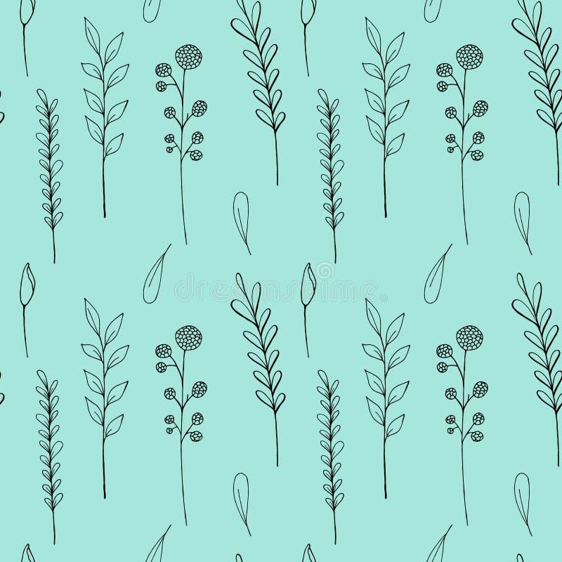 Άνευ ραφής σχέδιο wildflowers μελανιού Συρμένη η χέρι παπαρούνα, burdock, σίτος, χλόη, άγρια αυξήθηκε, chamomile, cornflower, γερ ελεύθερη απεικόνιση δικαιώματος