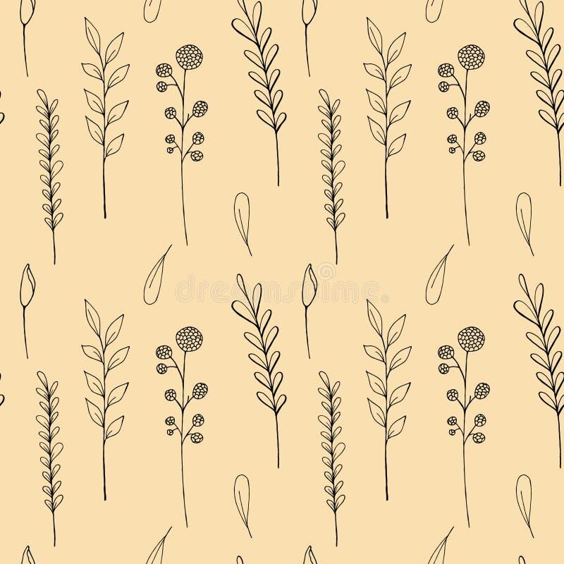 Άνευ ραφής σχέδιο wildflowers μελανιού Συρμένη η χέρι παπαρούνα, burdock, σίτος, χλόη, άγρια αυξήθηκε, chamomile, cornflower, γερ απεικόνιση αποθεμάτων