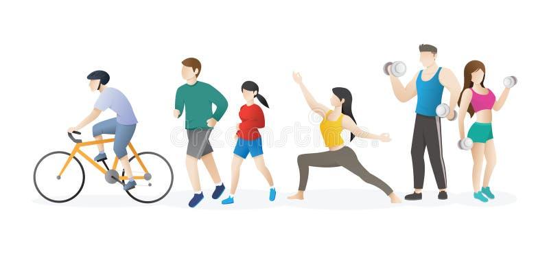 Άνθρωποι που κάνουν τη σωματική δραστηριότητα διανυσματική απεικόνιση