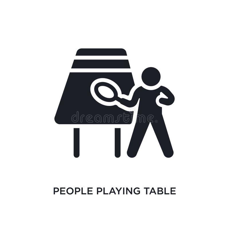 άνθρωποι που παίζουν το απομονωμένο εικονίδιο επιτραπέζιας αντισφαίρισης απλή απεικόνιση στοιχείων από τα ψυχαγωγικά εικονίδια έν απεικόνιση αποθεμάτων