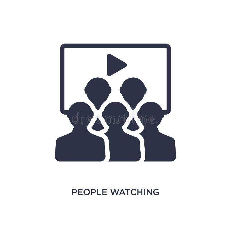 άνθρωποι που προσέχουν ένα εικονίδιο κινηματογράφων στο άσπρο υπόβαθρο Απλή απεικόνιση στοιχείων από την έννοια κινηματογράφων ελεύθερη απεικόνιση δικαιώματος