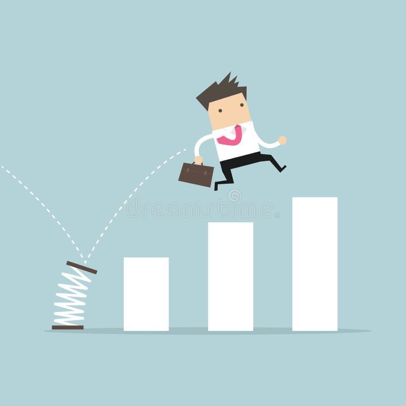 Άνοιξη άλματος επιχειρηματιών πέρα από το ιστόγραμμα ανάπτυξης Αύξηση για την επιχειρησιακή έννοια διανυσματική απεικόνιση