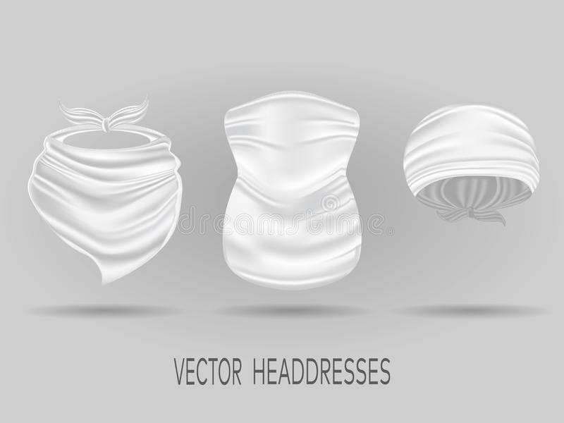 Άσπρα επικεφαλής bandanas, μαντίλι λαιμών και στιλβωμένος Ρεαλιστικό διάνυσμα διανυσματική απεικόνιση