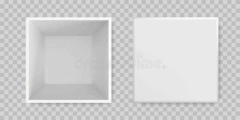Άσπρη ανοικτή πλαστή επάνω τρισδιάστατη πρότυπη τοπ άποψη κιβωτίων Απομονωμένο διάνυσμα κενό πρότυπο συσκευασίας δώρων κιβωτίων ε ελεύθερη απεικόνιση δικαιώματος