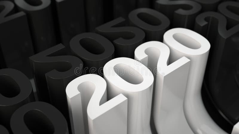 Άσπρος τρισδιάστατος αριθμός του 2020 στο πλέγμα των μαύρων αριθμών απεικόνιση αποθεμάτων