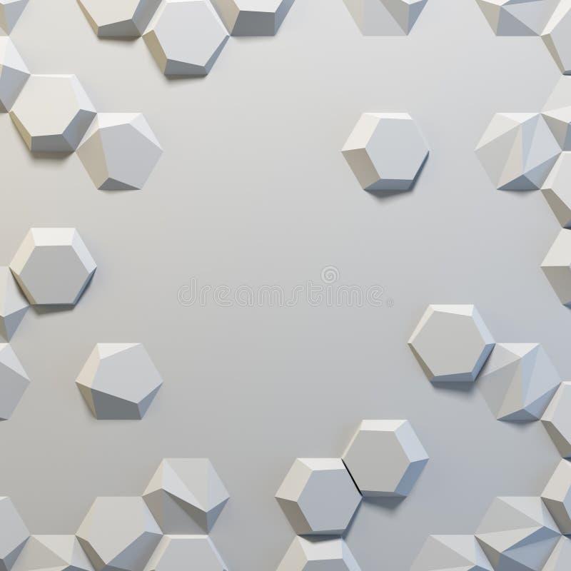 Άσπρο αφηρημένο hexagons κενό σκηνικό στοκ εικόνα με δικαίωμα ελεύθερης χρήσης