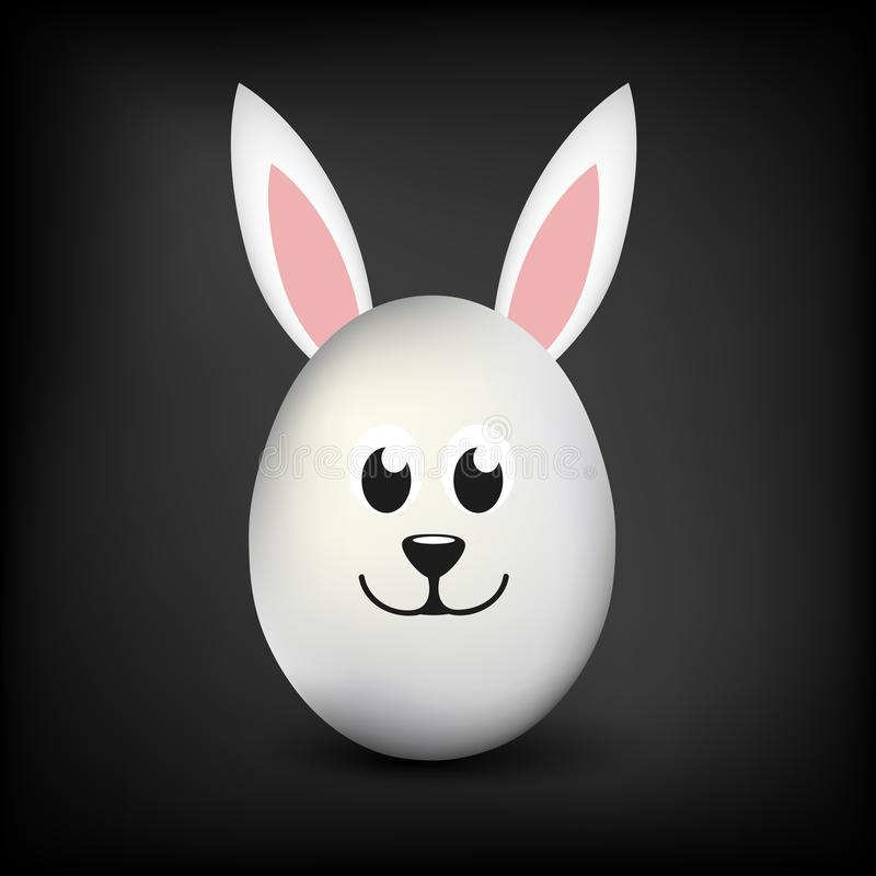 Άσπρο ενιαίο αυγό με τα αυτιά λαγουδάκι και ευτυχές ευτυχές πρόσωπο στο μαύρο υπόβαθρο ελεύθερη απεικόνιση δικαιώματος