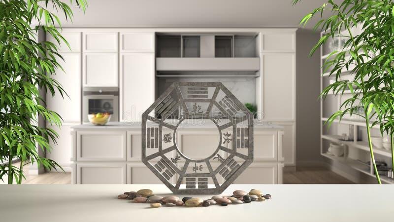 Άσπρο επιτραπέζιο ράφι με το bagua, πέτρα χαλικιών και εγκαταστάσεις μπαμπού, κλασική κουζίνα με το νησί στο σύγχρονο διαμέρισμα, ελεύθερη απεικόνιση δικαιώματος